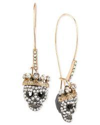 Betsey Johnson   Metallic Two-tone Pave Skull Long Drop Earrings   Lyst