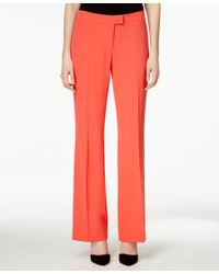 Anne Klein - Red Crepe Wide-leg Pants - Lyst