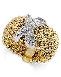 Macy's   Metallic Diamond Mesh X Ring (1/6 Ct. T.w.) In 14k Gold-plated Sterling Silver   Lyst