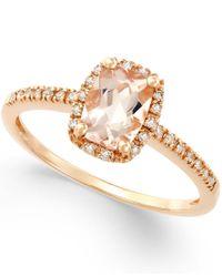 Macy's | Metallic Morganite (3/4 Ct. T.w.) And Diamond (1/10 Ct. T.w.) Ring In 14k Rose Gold | Lyst