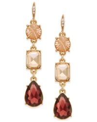 ABS By Allen Schwartz | Multicolor Gold-tone Triple Stone Linear Earrings | Lyst