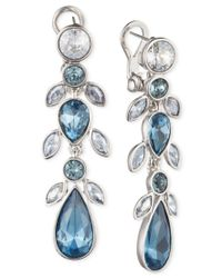 Givenchy - Linear Silver-tone & Blue Stone Earrings - Lyst
