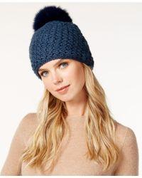 Surell | Blue Star Stitched Knit Fox Fur Pom Hat | Lyst