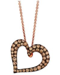 Le Vian | Brown Chocolate Diamond Heart Pendant Necklace (1/2 Ct. T.w.) In 14k Rose Gold | Lyst