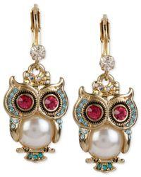 Betsey Johnson | Metallic Gold-tone Ornate Owl Drop Earrings | Lyst