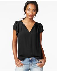 Maison Jules | Black Flutter-sleeve Woven Top, Only At Macy's | Lyst