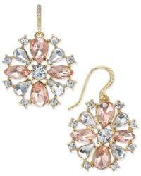 Charter Club   Metallic Gold-tone Pink & Clear Cubic Zirconia Drop Earrings   Lyst