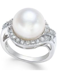 Macy's | Metallic Cultured South Sea Pearl (12mm) And Diamond (5/8 Ct. T.w.) Ring In 14k White Gold | Lyst