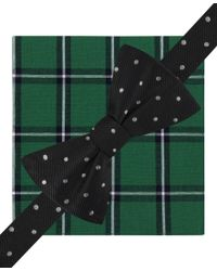 Tommy Hilfiger | Black Big Dot Pre Tied Bow Tie And Window Plaid Pocket Squrae Set for Men | Lyst