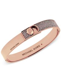 Michael Kors | Pink Rose-gold Tone Pavé Foldover Bracelet | Lyst