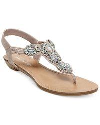 Madden Girl - Pink Tuzzie T-strap Jeweled Sandals - Lyst