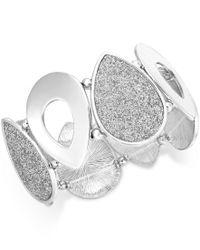 Style & Co. - Metallic Silver-tone Glitter Teardrop Stretch Bracelet, Only At Macy's - Lyst