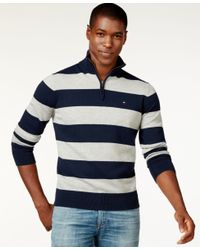 Tommy Hilfiger | Blue Rugby-striped Quarter-zip Sweater for Men | Lyst