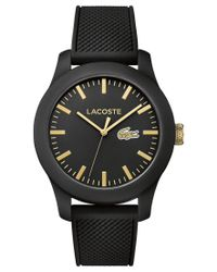 Lacoste | Unisex 12.12 Black Silicone Strap Watch 43mm 2010818 | Lyst