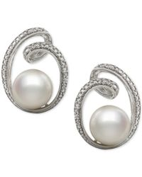 Macy's - White Cultured Freshwater Pearl (8mm) And Diamond Accent Earrings In Sterling Silver - Lyst