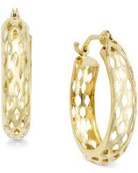 Macy's   Metallic Diamond-cut Mesh Hoop Earrings In 10k Gold   Lyst