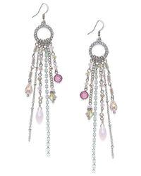INC International Concepts - Metallic Silver-tone Beaded Fringe Drop Earrings - Lyst