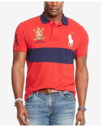 Polo Ralph Lauren - Red Men's Big & Tall Classic-fit Banner-stripe Polo Shirt for Men - Lyst