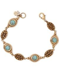 Lucky Brand | Metallic Gold-tone Turquoise-look Bead And Crystal Bracelet | Lyst