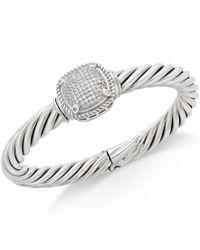 Macy's | Metallic Diamond Pave Bangle Bracelet (1/2 Ct. T.w.) In Sterling Silver | Lyst