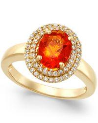 Macy's | Metallic Fire Opal (1-1/10 Ct. T.w.) And Diamond (1/3 Ct. T.w.) Ring In 18k Gold | Lyst