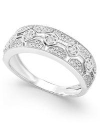 Macy's | Metallic Diamond Deco Hexagon Ring (1/4 Ct. T.w.) In 14k White Gold | Lyst