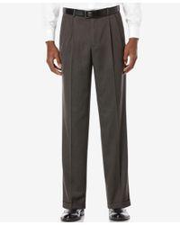 Perry Ellis   Gray Portfolio Classic Fit Double Pleat No-iron Melange Microfiber Dress Pants for Men   Lyst