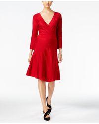 Nine West | Red Embellished Surplice A-line Sweater Dress | Lyst