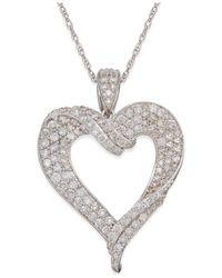 Macy's | Diamond Heart Pendant Necklace (1-1/8 Ct. T.w.) In 14k White Gold | Lyst