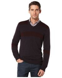 Perry Ellis | Red Stripe V-neck Sweater for Men | Lyst
