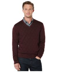 Perry Ellis | Textured Argyle V-neck Sweater for Men | Lyst