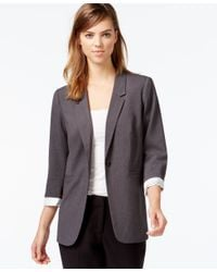 Kensie | Gray Three-quarter-sleeve Blazer, Only At Macy's | Lyst