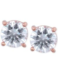 Anne Klein | Pink Rose Gold-tone Crystal Stud Earrings | Lyst