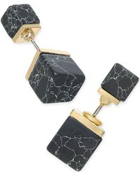 Macy's - Inspired Life Gold-tone Black Stone Cube Front And Back Earrings - Lyst