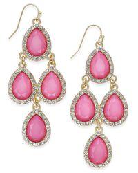 INC International Concepts - Pink Gold-tone Jet Black Teardrop Chandelier Earrings - Lyst