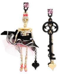 Betsey Johnson | Pink Black-tone Skull-girl-and-key Mismatched Drop Earrings | Lyst