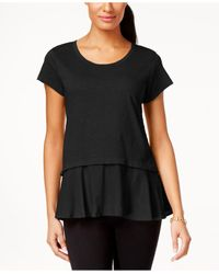 Style & Co. | Black Layered-look Peplum T-shirt, Only At Macy's | Lyst