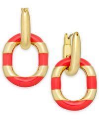 kate spade new york | Pink Gold-tone Black Enamel Drop Hoop Earrings | Lyst