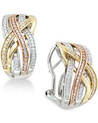 Macy's | Metallic Diamond Tri Orbit Earrings (1/2 Ct.t.w) In 14k Two-tone Gold And Sterling Silver | Lyst