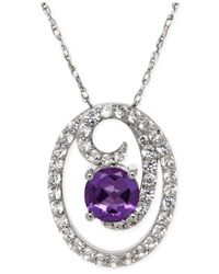 Macy's | Purple Amethyst (1-1/5 Ct. T.w.) And White Topaz (1-1/5 Ct. T.w.) Swirl Pendant Necklace In Sterling Silver | Lyst
