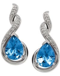 Macy's | Blue Topaz (2-5/8 Ct. T.w.) And Diamond Accent Infinity Earrings In Sterling Silver | Lyst