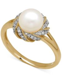 Macy's | Multicolor Freshwater Pearl (7mm) And Diamond Accent Ring In 14k Gold | Lyst