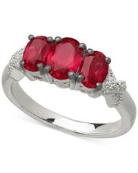 Macy's - Gray Gemstone (2-3/8 Ct. T.w.) And Diamond Accent Three-stone Ring In Sterling Silver - Lyst