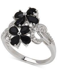 Macy's   Metallic Onyx (1-1/4 Ct. T.w.) And Diamond Accent Flower Ring In Sterling Silver   Lyst