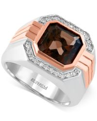 Effy Collection | Multicolor Gento By Effy Smoky Quartz (3-7/8 Ct. T.w.) And Diamond (1/6 Ct. T.w.) Ring In 14k Rose And White Gold | Lyst