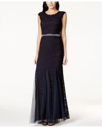 Betsy & Adam - Blue Petite Jeweled Chiffon-lace Gown - Lyst