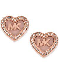 Michael Kors | Pink Rose Gold-tone Pave Logo Heart Stud Earrings | Lyst