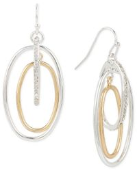 Touch Of Silver | Metallic Pavé Orbital Drop Earrings In 14k Gold-plated And Silver-plated Metal | Lyst