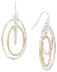 Touch Of Silver | Metallic Pave Orbital Drop Earrings In 14k Gold-plated And Silver-plated Metal | Lyst