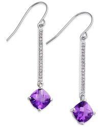 Macy's   Multicolor Amethyst (2-7/10 Ct. T.w.) And Diamond (1/8 Ct. T.w.) Linear Drop Earrings In 14k White Gold   Lyst